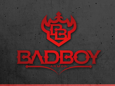 Bad boy armor concept horns design vector badge design shield chipdavid logo dogwings