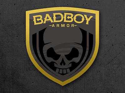 Bad boy armor 2 design concept shield skull vector logo chip david dogwings