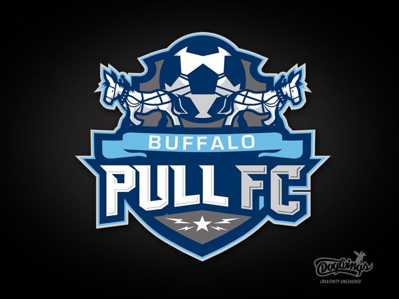 Pull FC team shield design mules sports graphic soccer vector sportslogo logo dogwings