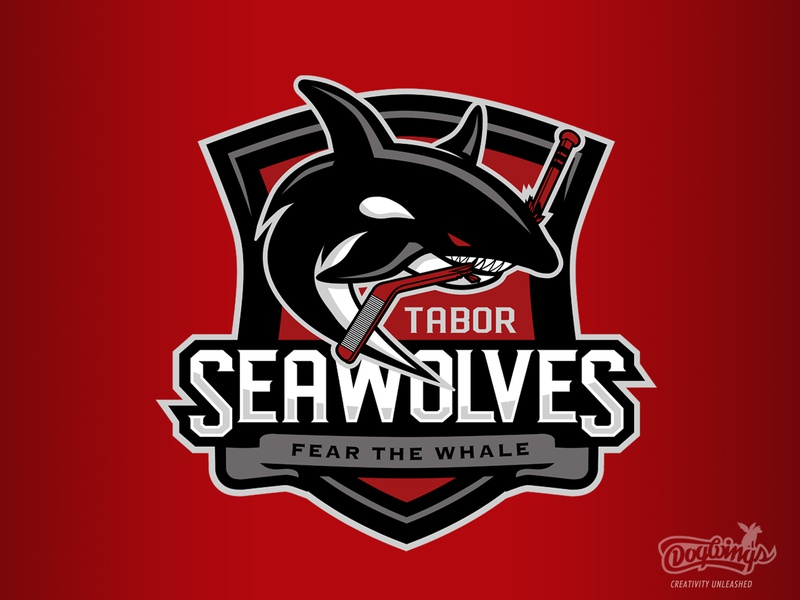Seawolves branding logo design hockey shield logo killer whale chipdavid logo sports graphic vector dogwings
