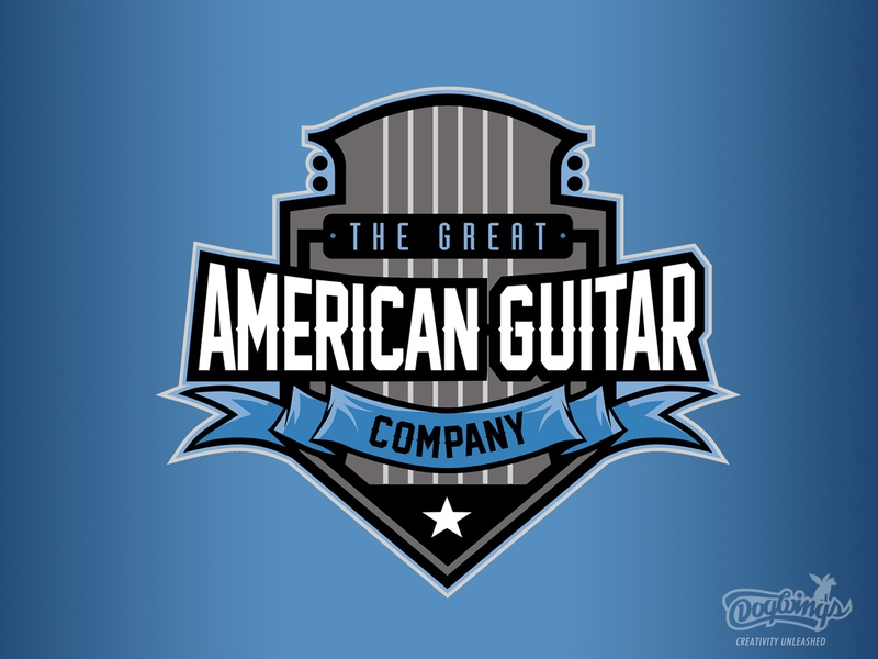 Great American Guitar logodesign brand mark guitar branding illustration vector design logo chipdavid dogwings