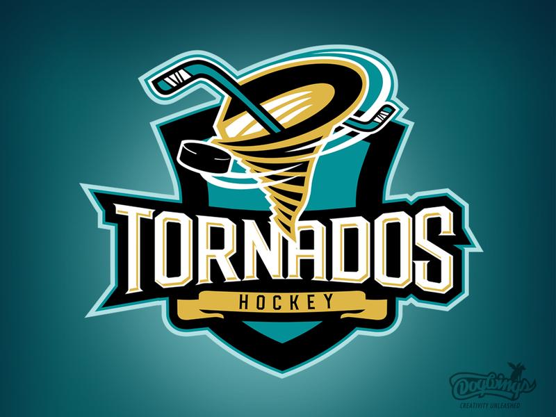 Tornados Hockey team graphic hockey stick sports graphic illustration vector design logo chipdavid dogwings