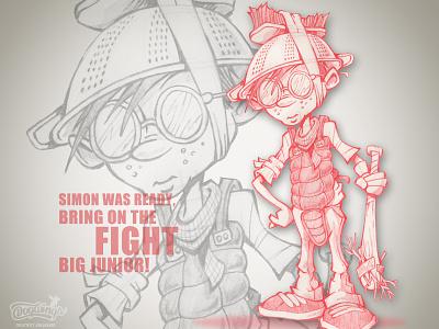 Simon fighter redpencil boy sketchbook sketch sketchstories drawing cartoon illustration chipdavid dogwings