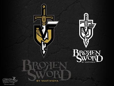 BROKEN SWORD shield sword creative branding drawing illustration vector design chipdavid logo dogwings