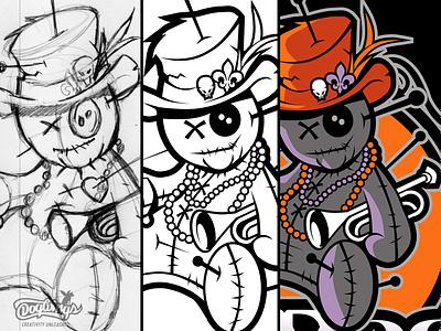 VOODOO SKETCH voodoo doll sketch cartoon drawing illustration vector design logo chipdavid dogwings