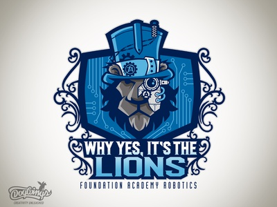 FA ROBOTIC LION creative steampunk teamgraphic drawing illustration vector design logo chipdavid dogwings
