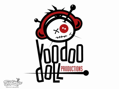 VOODOO DOLL PRODUCTIONS funny voodoo doll creative branding drawing illustration vector logo design chipdavid dogwings