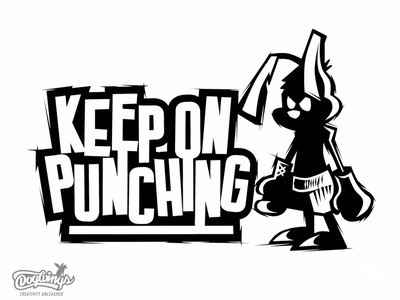 KEEP ON PUNCHING boxer cartoon sports graphic drawing illustration vector logo design chipdavid dogwings