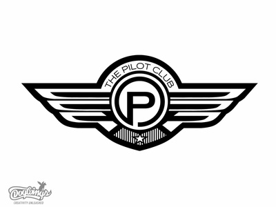 THE PILOT CLUB creative branding drawing illustration vector logo design chipdavid dogwings