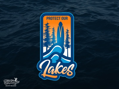 PROTECT OUR LAKES CONCEPT lakes surfboard creative sports graphic branding drawing illustration vector logo design chipdavid dogwings