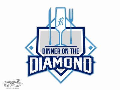 DINNER ON THE DIAMOND banquet diamond baseball sports graphic illustration vector logo design chipdavid dogwings