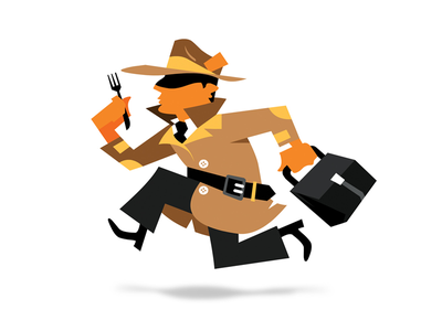 The Service Detectives service detective character mascot coat running fork hat bag orange black vector