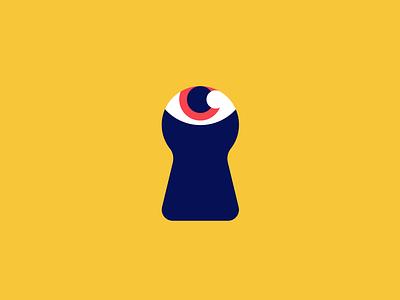 Keyhole Logo clean modern bright red navy yellow blue logo design logodesign identity branding illustration vector flat icon brand i logo eye