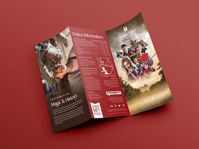 Alnwick Castle Trifold Leaflet Design folded brochure print graphic design design knight medieval brown red panel trifold brochure trifold mockup trifold leaflet public attraction visitor event castle alnwick