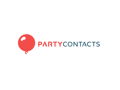 Party Contacts Identity party wordmark font logo brand identity balloon red blue rounded orange