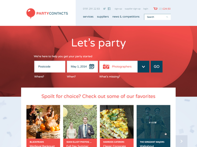 Party Contacts Homepage party listing website web balloon red blue pastel orange ui search field