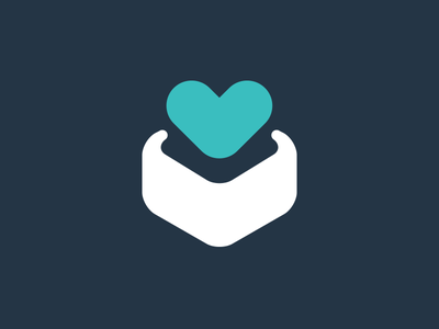 niftyy icon heart box icon web app blue turquoise present gift open curved flat