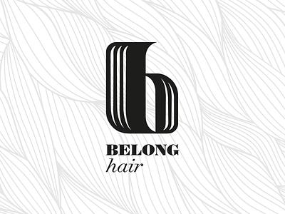 Belong Hair Logo hair logo brand icon custom type elegant serif salon beauty cosmetic