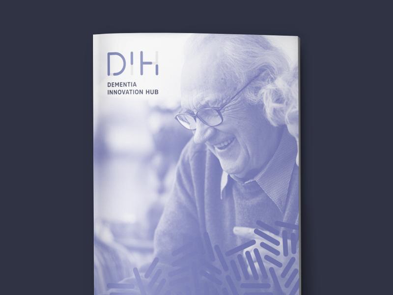Dementia Innovation Hub Identity & Layout rounded stroke technology project university science brain teal dih innovation dementia purple