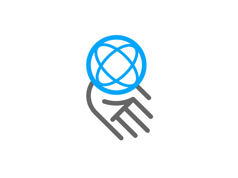 Blue Chip Safety - Safe in our hands symbol globe hand icon logo brand corporate business health safety blue