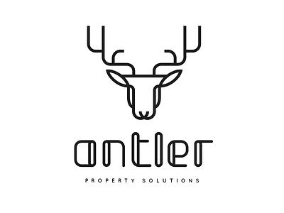 Antler Logo & Wordmark reindeer keyline roe moose mammal shape geometry geometric circle curve brand logo abstract simple black cyan guideline guide grid vector line zoo animal horn deer stag antler