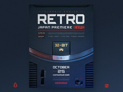 Retro Gaming Poster Classic Game Flyer Template mega drive sega genesis template synthwave sega sci-fi retrowave retrogaming retro gaming poster nintendo neon joystick gamepad game flyer back to the 80s arcade 80s 1980s