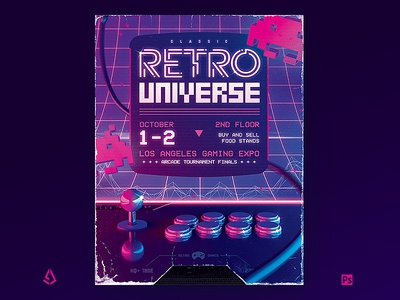 Arcade Stick Retro Gaming 80s Neon Flyer Template vhs vaporwave template synthwave shmups sci-fi retrowave retrogaming retro gaming poster neon joystick gamepad game flyer fight stick back to the 80s arcade 80s 1980s