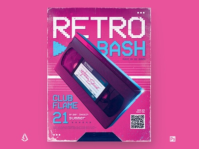 New Retro Wave Flyer Pink 80s VHS Template back to the 80s electric chillwave flashback aesthetics vaporwave videocassette 80s poster 1980s vhs club indie vintage music synthwave flyer retro wave