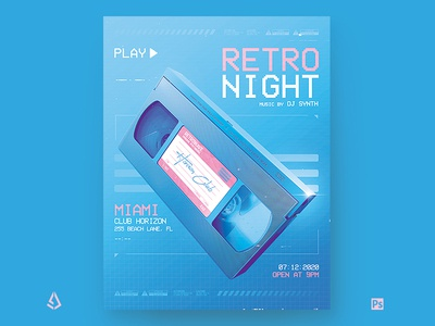 New Retro Wave Miami Blue VHS Flyer Template pink blue back to the 80s electric chillwave flashback aesthetics vaporwave videocassette 80s poster 1980s vhs club indie vintage music synthwave flyer retro wave