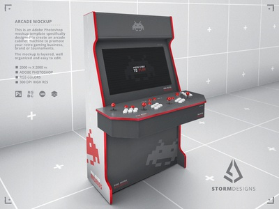 Retro Gaming Arcade Cabinet 4 Players Mockup Template build diy template 1980s retropie raspberry pi sega genesis nes 4 players arcade gamers classic gaming mock up retrogaming retro gaming video games mock-up mockup arcade cabinet
