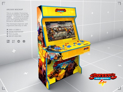 Retro Gaming Streets of Rage 4 Arcade Cabinet Mock Up build diy template 1980s retropie raspberry pi sega genesis nes 4 players arcade gamers classic gaming mock up retrogaming retro gaming video games mock-up mockup arcade cabinet