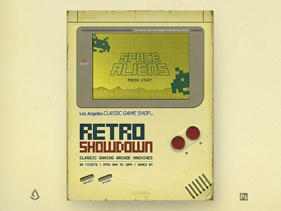 Retro Gaming Flyer GameBoy DMG Poster Template flashback vintage classic pixels flyer dmg game boy template psd poster mock up nintendo gameboy retro gaming