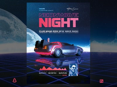Synthwave Flyer v11 Retro Wave VHS Template music sci-fi delorean neon new wave indie electro tape vhs 80s poster 1980s box cover cover retro vintage flyer retro flyer retrowave synthwave