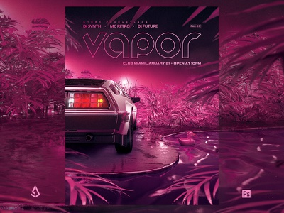 Vaporwave Flyer v1 Retro Wave VHS Indie Template sci-fi delorean neon new wave indie electro tape vhs 80s poster 1980s box cover cover retro vintage flyer retro flyer retrowave synthwave vaporwave