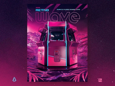 Retro Gaming Flyer 80s Synthwave World electro vhs layout template indie vapor wave synthwave mock up arcade cabinet 80s arcade gamers gaming video games flyer retrogaming retro gaming