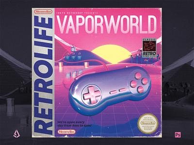 Retrowave Flyer v4 Retrogaming Game Boy Cover nintendo vaporwave electro synthwave gamers video games mock up long box 80s poster 1980s box cover cover retro game boy flyer retrogaming flyer retrowave retrogaming