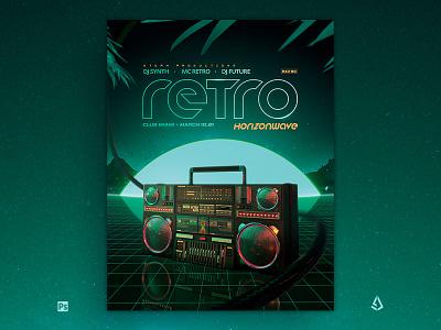 Retrowave Flyer 80s Flashback Boombox Radio retro electro vhs template indie cyberpunk vaporwave flashback ghetto blaster boombox 80s flyer synthwave retrowave