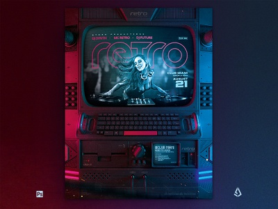 Retrowave Flyer 80s Cyberpunk Sci Fi Monitor Party retro electro vhs template indie vaporwave flashback monitor cyberpunk 80s flyer synthwave retrowave