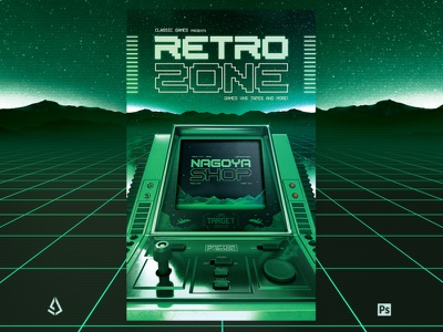 Retro Gaming 1980s Synthwave Computer Flyer computer template dos pc flashback 80s arcade machine synthwave classic gaming arcade gamers gaming video games flyer retrogaming retro gaming