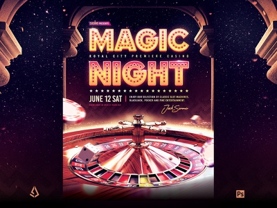 Casino Night Flyer Roulette Royale Template luxury