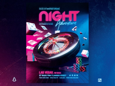 Casino Night Flyer Roulette Royale PSD Template luxury