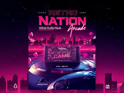 Retro Gaming Flyer 80s Neon Game Night Psd genesis