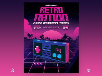 Retro Gaming Flyer 1980s Classic Neon Gamepad gamepad