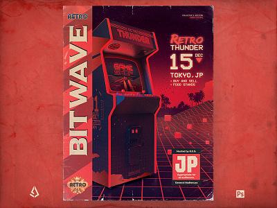 Retro Gaming Flyer 80s Bitwave Arcade Cover cabinet