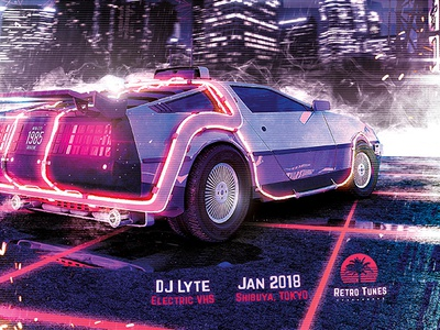 Synthwave Flyer v1 - Neon City Retrowave Poster Template synthwave sci-fi retrowave flyer retrogaming retro poster outrun neon music movies gaming futurewave flyer flashback event electro delorean cyberpunk 80s 1980s