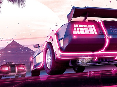 Synthwave Flyer v2 - Neon Dreams Retrowave Poster Template sci-fi retrowave retrogaming retro poster post outrun neon music movie gaming futurewave flyer flashback event electro delorean cyberpunk 80s 1980s