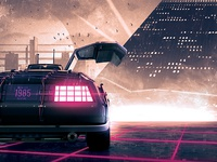 Synthwave Flyer v3 - Neon Miami Retrowave Poster Template
