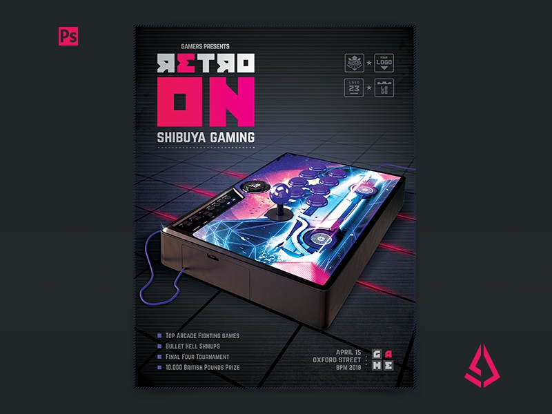 retro gaming flyer v6 arcade stick mockup template by storm