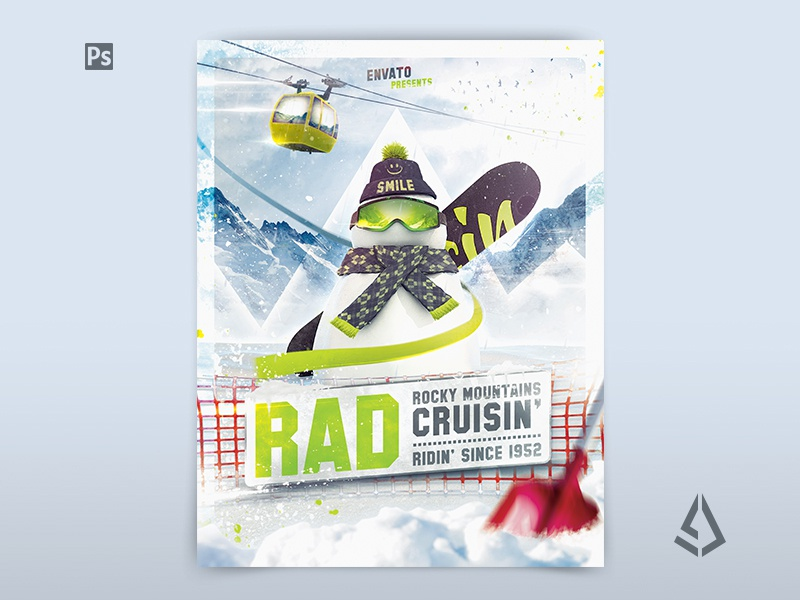 Snowboard Flyer Snowboarding Poster Template By Storm Designs