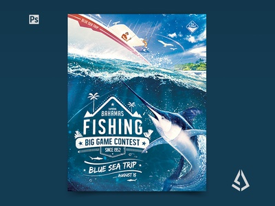 Big Game Fishing Flyer Blue-Water Fishing Poster Template